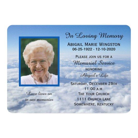 Memorial Service Invitation Photo in Clouds