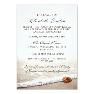 Memorial Service | Seashell on the Beach Card
