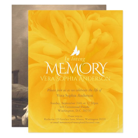 Memorial service yellow rose funeral invitations