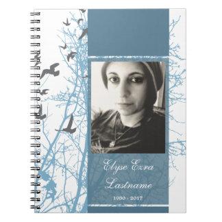 memorial silhouscreen guest book spiral note book