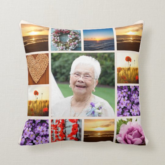 Memorial Sympathy Photo Collage Keepsake Cushion