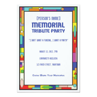 Memorial Tribute Funeral Party Invitation