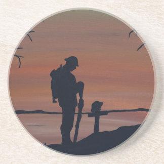 Memorial, Veternas Day, silhouette solider at grav Beverage Coasters