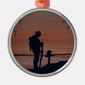 Memorial, Veternas Day, silhouette solider at grav Christmas Ornament