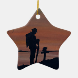 Memorial, Veternas Day, silhouette solider at grav Christmas Ornament