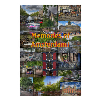Memories of Amsterdam Photo Collage Souvenir Poster
