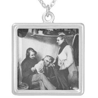 Memories of Sainte-Pelagieillustration Silver Plated Necklace