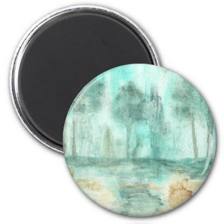 Memory,Abstract Landscape Trees Art Painting 6 Cm Round Magnet
