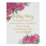 memory remembrance  floral wedding peony sign poster