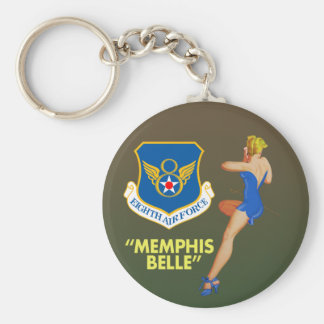 "Memphis Belle"" 8th Air Force Basic Round Button Key Ring"