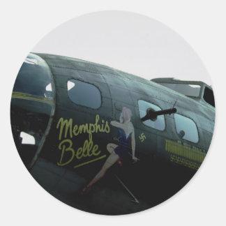 Memphis Belle, nose art Classic Round Sticker