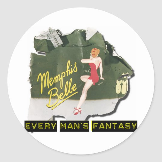 Memphis Belle Pin Up Classic Round Sticker