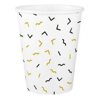 Memphis Geometric Modern Black and Gold Style Paper Cup