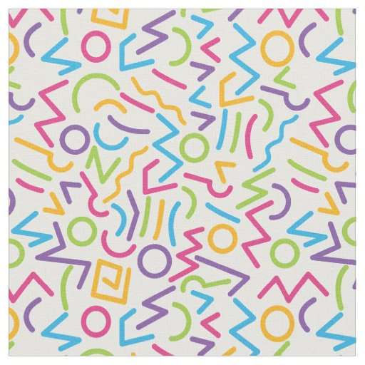 Memphis Retro Colourful Abstract Style Fabric