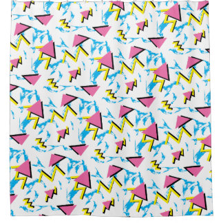 Memphis Retro Pattern Bathroom Shower Curtain