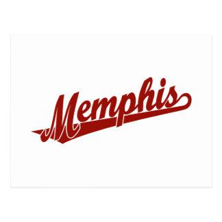 Memphis script logo in red postcards