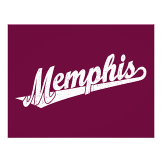 Memphis script logo in white distressed flyer design