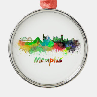 Memphis skyline in watercolor christmas ornament