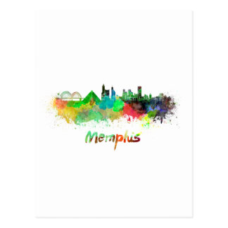Memphis skyline in watercolor postcard