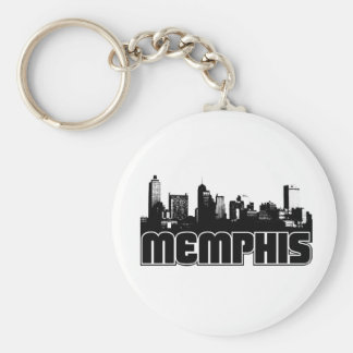 Memphis Skyline Basic Round Button Key Ring