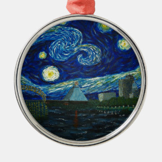 """Memphis Starry Night"" by Jack Lepper Christmas Ornament"