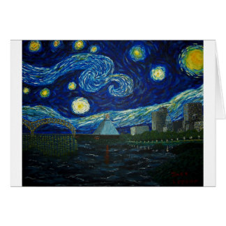 """""""Memphis Starry Night"""" by Jack Lepper Greeting Card"""
