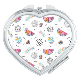 Memphis Style Tropical Summer Pattern Compact Mirror