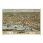 Memphis Tennessee 1870 Antique Panoramic Map