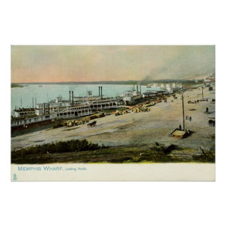 Memphis Tennessee, Boats at a Wharf 1906 Vintage Posters