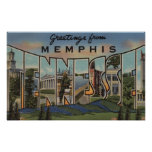 Memphis, Tennessee - Large Letter Scenes Posters