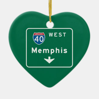 Memphis, TN Road Sign Christmas Ornament