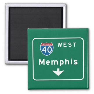 Memphis, TN Road Sign Square Magnet