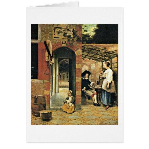 Men And A Woman In Courtyard By Pieter De Hooch Greeting Card