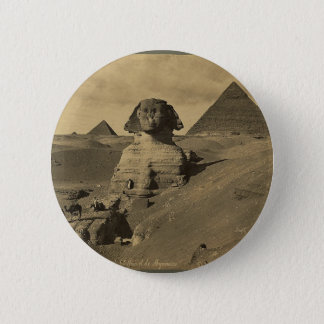 Men and Camels on the Paw of the Sphinx, Pyramids 6 Cm Round Badge