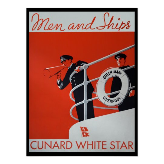 Men and Ships Queen Mary Poster