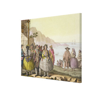 Men and women in elaborate costume, Chile, from 'L Canvas Print