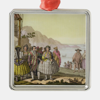 Men and women in elaborate costume, Chile, from 'L Christmas Ornament