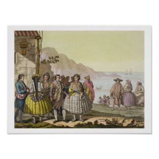 Men and women in elaborate costume, Chile, from 'L Poster
