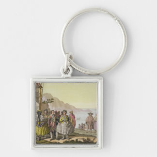 Men and women in elaborate costume, Chile, from 'L Silver-Colored Square Key Ring