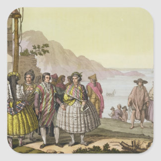 Men and women in elaborate costume, Chile, from 'L Square Sticker