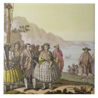 Men and women in elaborate costume, Chile, from 'L Tile