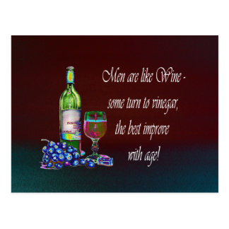 Men are like Wine! Humorous Wine Quote Gifts Postcard