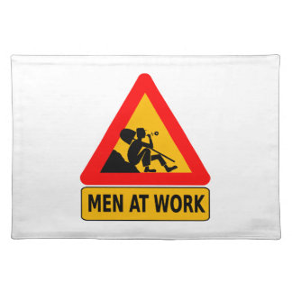Men at work traffic sign cloth place mat