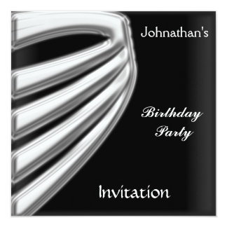 Men Black Silver Party Invitation save the date