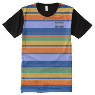 Men Blues Orange Yellow Colours Striped T-Shirt