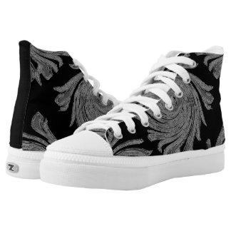 Men/boys black canvas high top shoes custom printed shoes