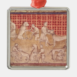 Men caring for hunting dogs Silver-Colored square decoration