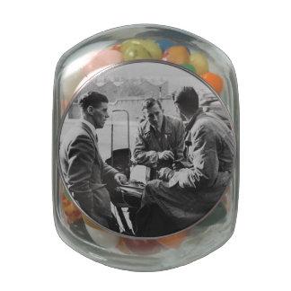 Men Chatting Black & White Glass Jelly Belly Jar Jelly Belly Candy Jar