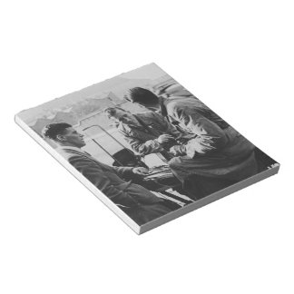 Men Chatting Black & White Image 40 Page Notepad