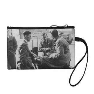 Men Chatting Black & White Image Key Coin Clutch